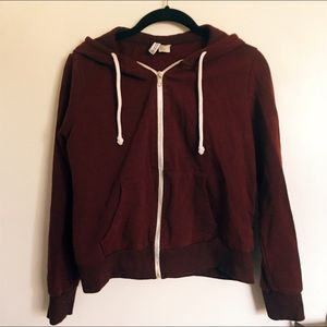 NWOT Burgundy Hooded Zippered Sweatshirt